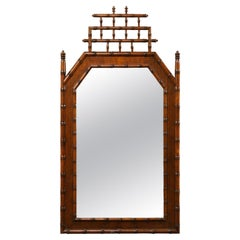 English Mirror with Faux Bamboo Lattice Crest.  A Very Nice Piece!  Mid 20th C.