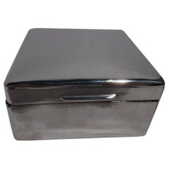 English Modern Small Square Sterling Silver Box