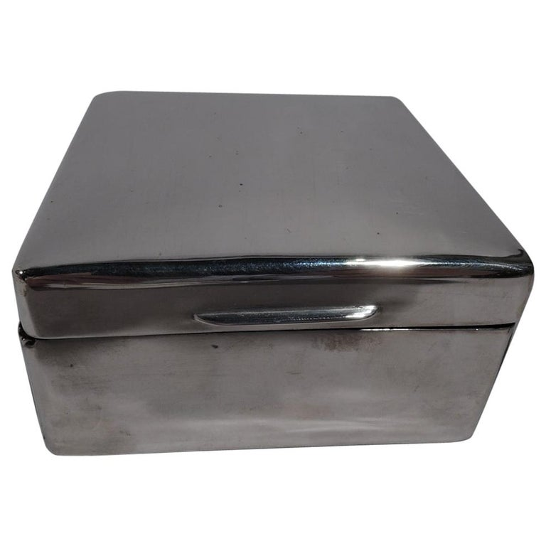 English Modern Small Square Sterling Silver Box