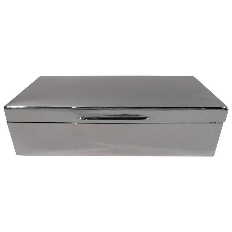 English Modern Sterling Silver Desk Box For Sale