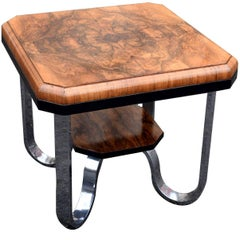English Modernist Art Deco Occasional Table in Walnut and Chrome