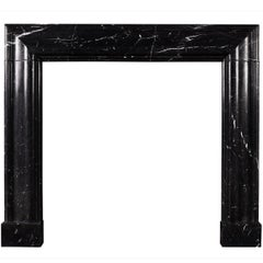 English Molded Bolection Fireplace in Nero Marquina Marble
