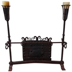 English Monumental Wrought Iron Fire Guard with Decorative Fire Back, Circa 1750