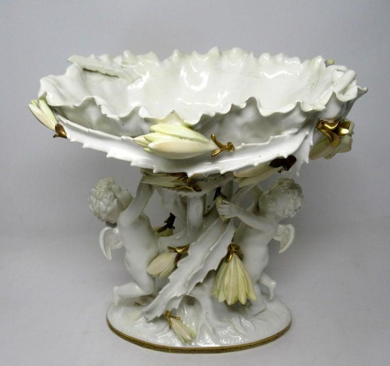 Victorian English Moore Brothers Porcelain Cream Gilt Cherub Cacti Centerpiece For Sale