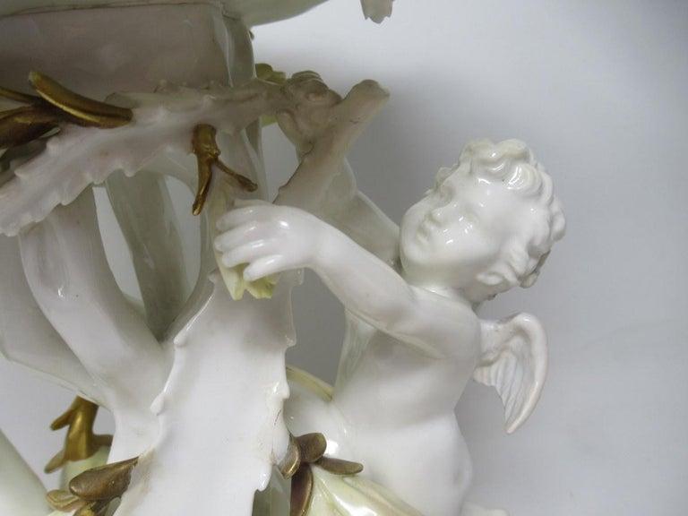 Ceramic English Moore Brothers Porcelain Cream Gilt Cherub Cacti Centerpiece For Sale