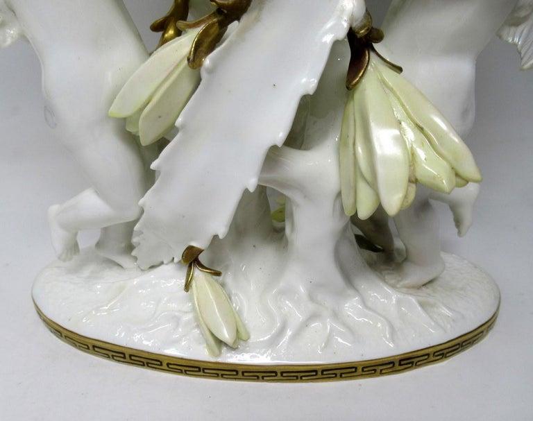 English Moore Brothers Porcelain Cream Gilt Cherub Cacti Centerpiece For Sale 3