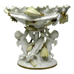 English Moore Brothers Porcelain Cream Gilt Cherub Cacti Centerpiece