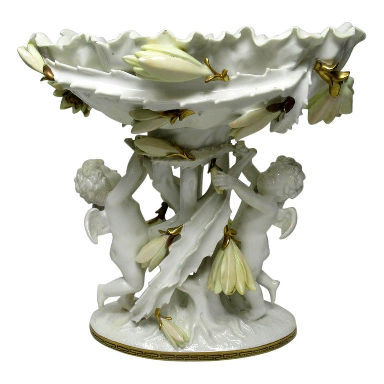 English Moore Brothers Porcelain Cream Gilt Cherub Cacti Centerpiece For Sale