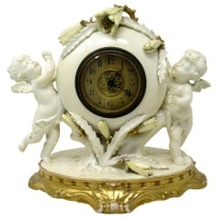 English Moore Brothers Porcelain Cream Gilt Cherub Cacti Mantle Clock Timepiece
