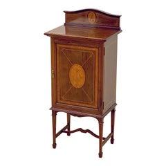 English Music Cabinet of Inlaid Mahogany from the Edwardian Era