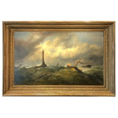 English Navy, Marine Oil on Canvas, 19th Century, Painting