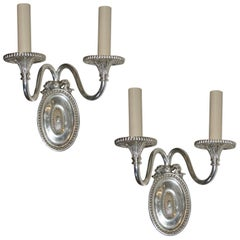 English Neoclassic Silver-Plated Sconces