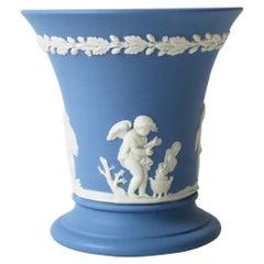 English Neoclassical Wedgwood Jasperware Blue and White Vase