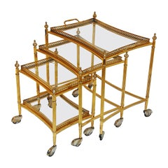 English Nesting Set of Three Brass Bar Carts with Removable Galleried Trays