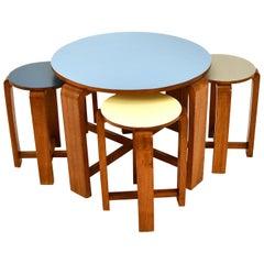 English Nestling Tables Stools Mahogany 1930s Colored Tops