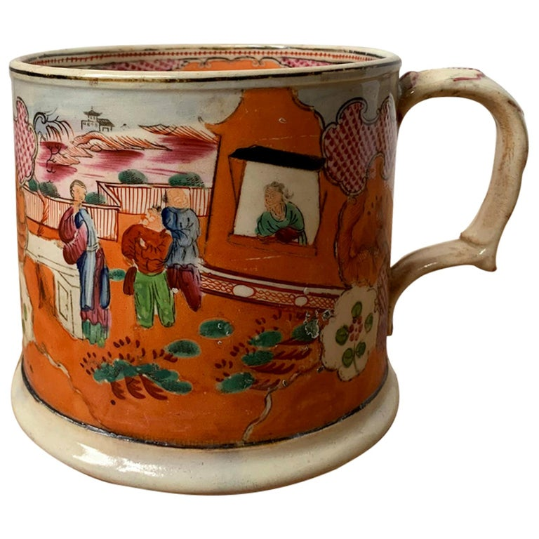 """English New Hall """"Boy in the Window"""" Porcelain Mug, Marked, circa 1790-1810 For Sale"""