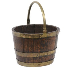 English Oak and Brass Bucket with Handle from the Late 19th Century