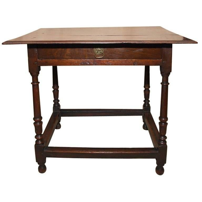English oak and fruitwood stretcher base table for sale at for England table