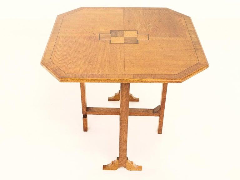 British English Oak Art Deco Geometric Side Occasional Coffee Table For Sale