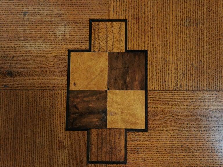 English Oak Art Deco Geometric Side Occasional Coffee Table For Sale 1