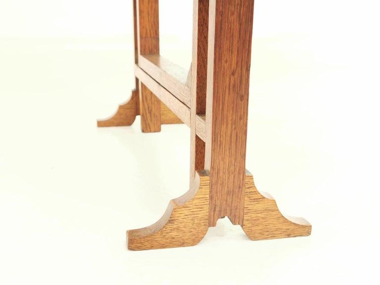 English Oak Art Deco Geometric Side Occasional Coffee Table For Sale 2
