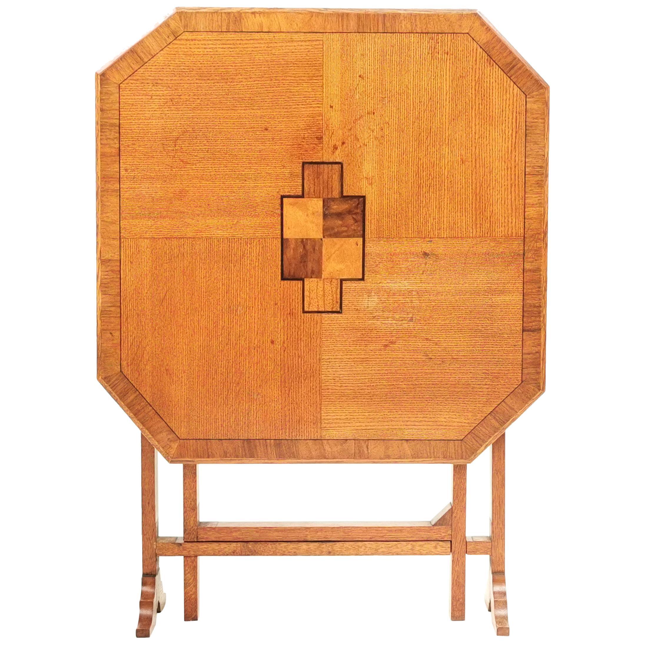 English Oak Art Deco Geometric Side Occasional Coffee Table