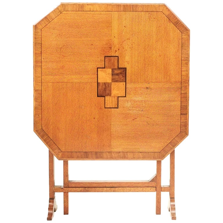 English Oak Art Deco Geometric Side Occasional Coffee Table For Sale