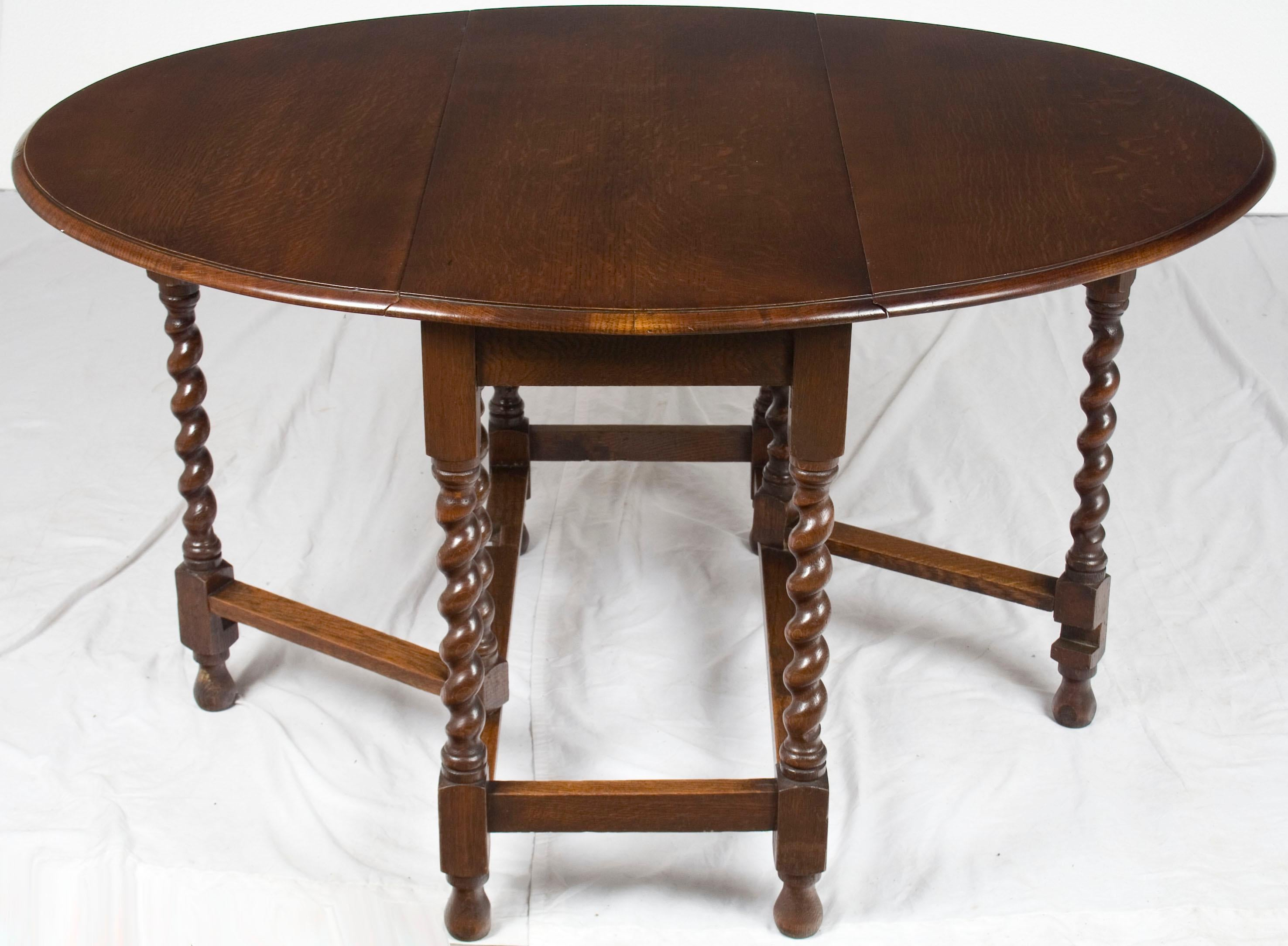 Vintage Solid Oak Drop Leaf Table Lovely Luster 1800-1899 Tables
