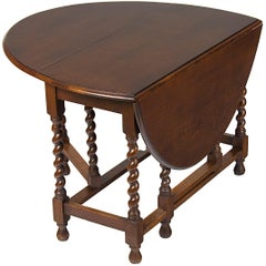 English Oak Barley Twist Gate Leg Drop-Leaf Side Sofa End Table