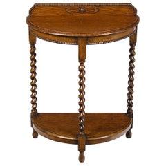 English Oak Barley Twist Half Moon Demilune Hall Side Table