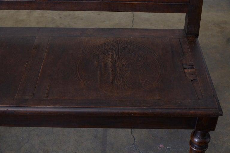 English Oak Bench Settle with Art Nouveau Panels For Sale 4