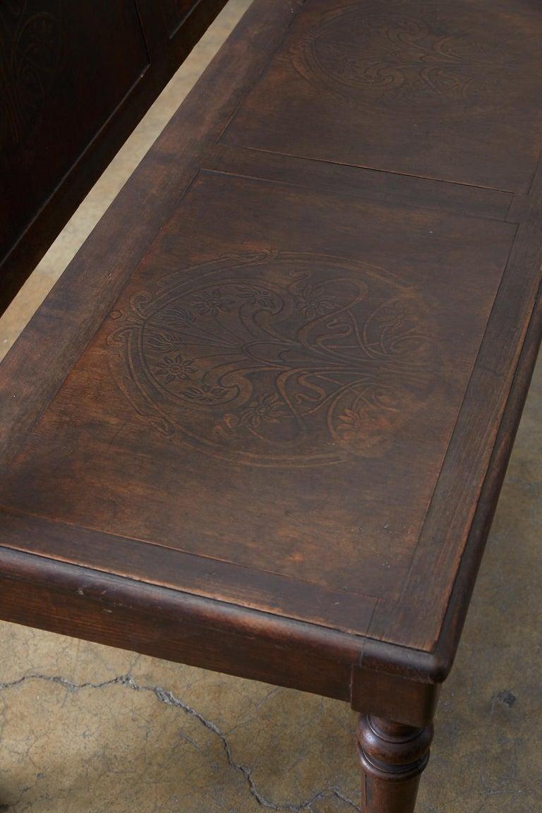 English Oak Bench Settle with Art Nouveau Panels For Sale 6