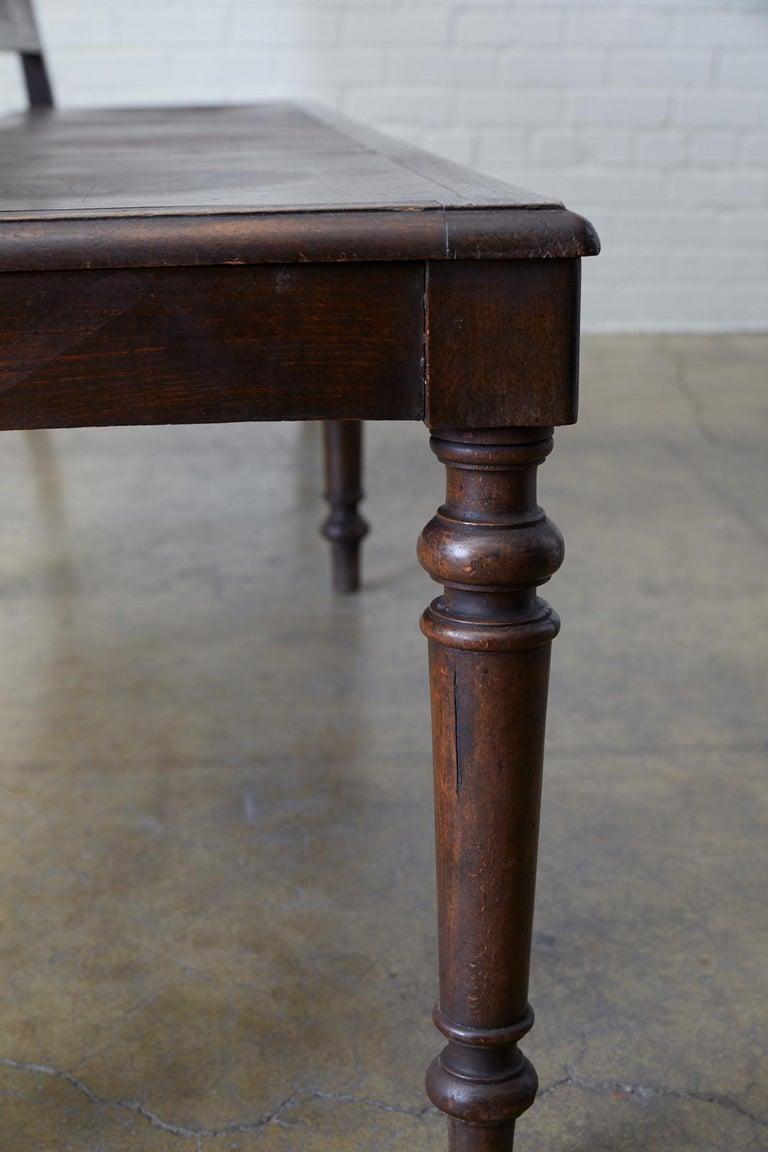 English Oak Bench Settle with Art Nouveau Panels For Sale 7