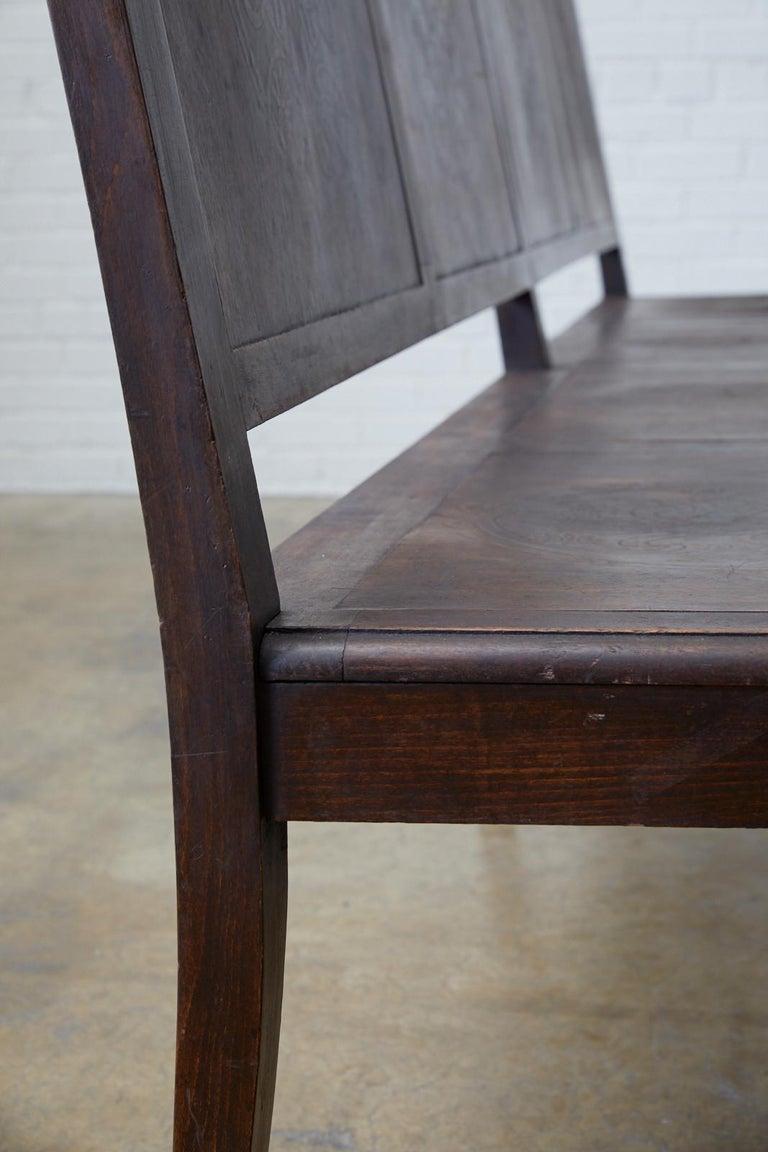 English Oak Bench Settle with Art Nouveau Panels For Sale 8