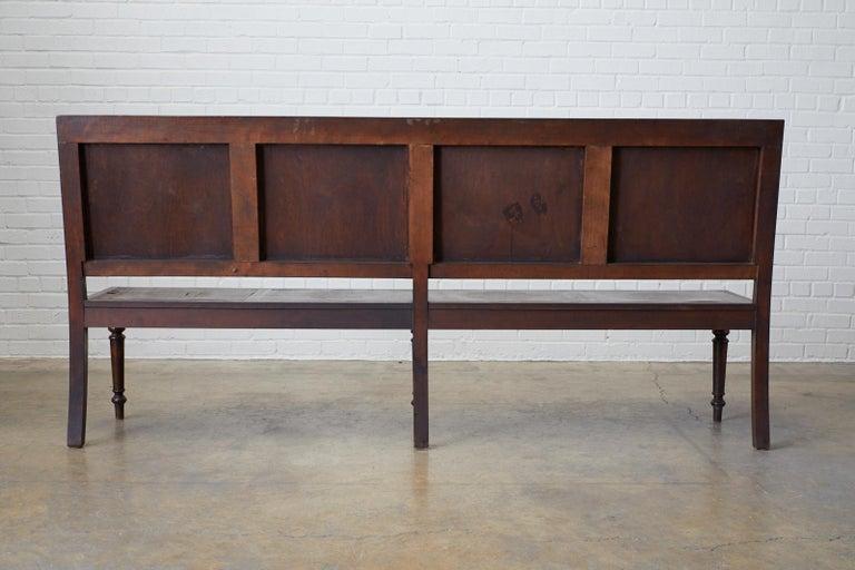 English Oak Bench Settle with Art Nouveau Panels For Sale 9