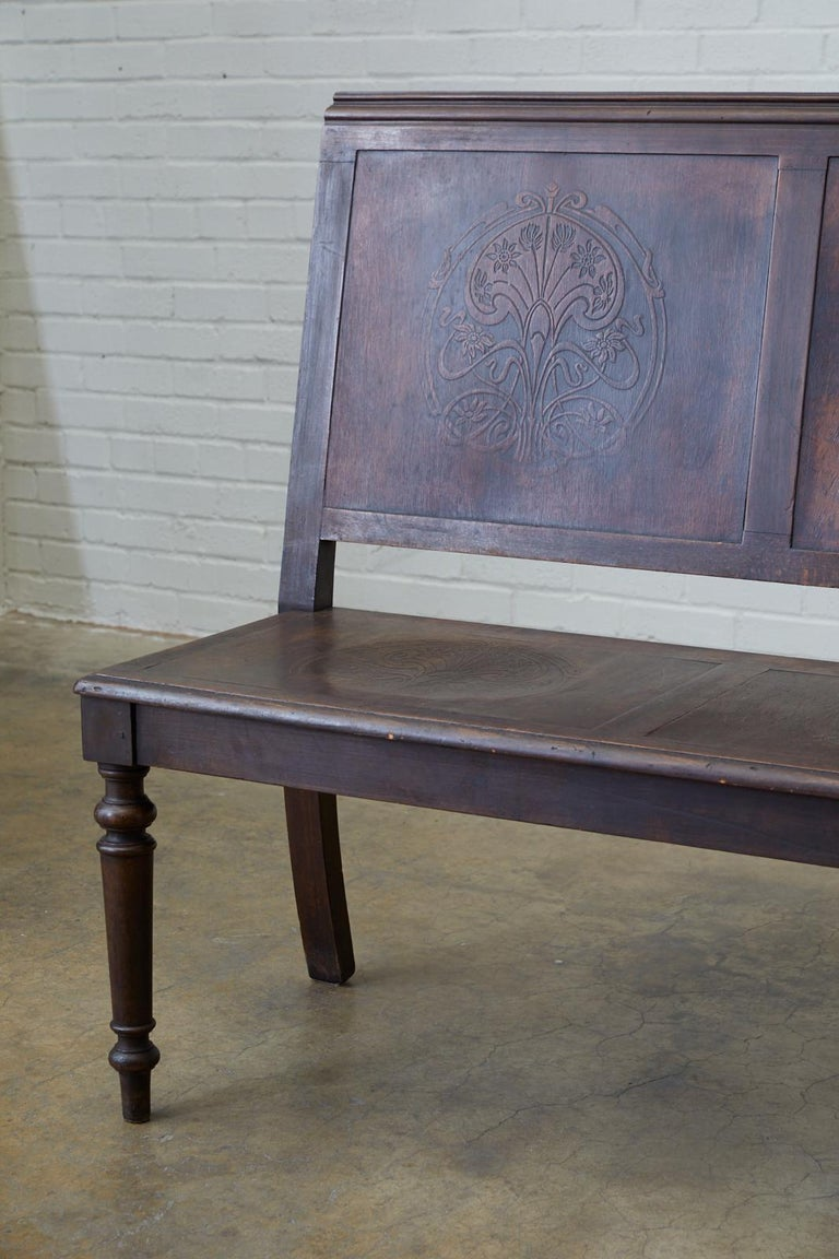 Embossed English Oak Bench Settle with Art Nouveau Panels For Sale