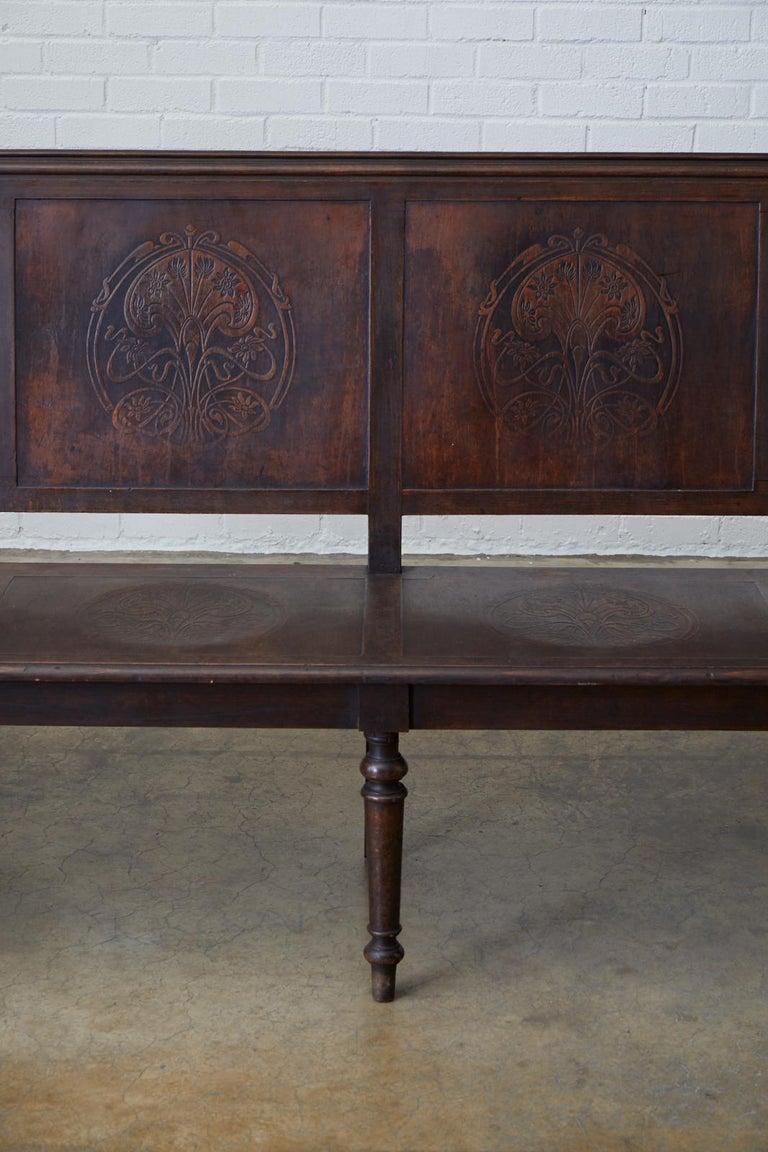 19th Century English Oak Bench Settle with Art Nouveau Panels For Sale