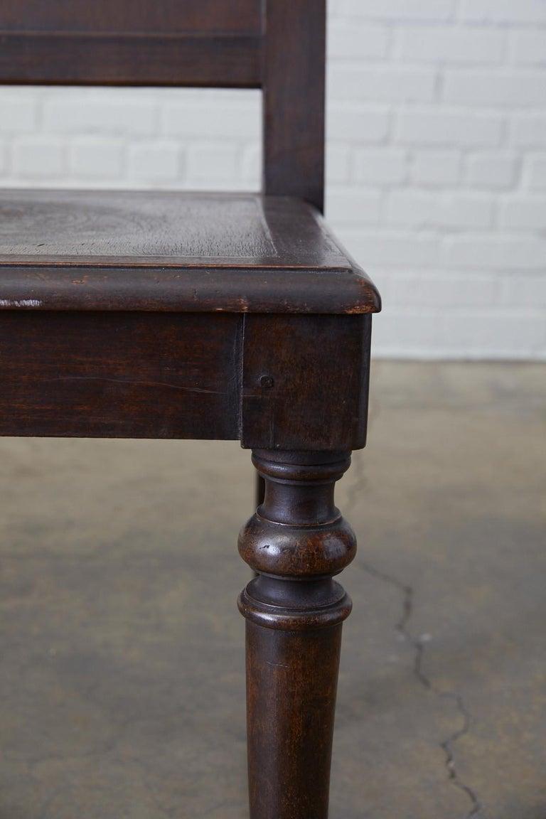 Wood English Oak Bench Settle with Art Nouveau Panels For Sale