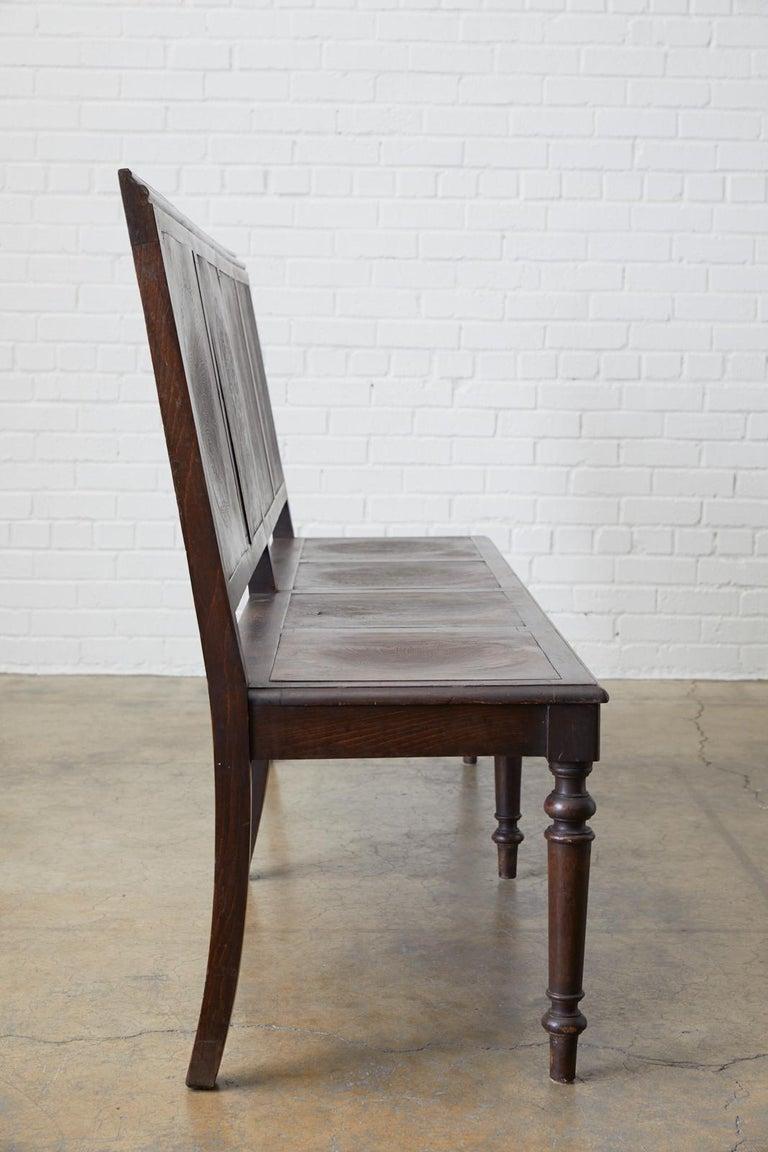 English Oak Bench Settle with Art Nouveau Panels For Sale 1