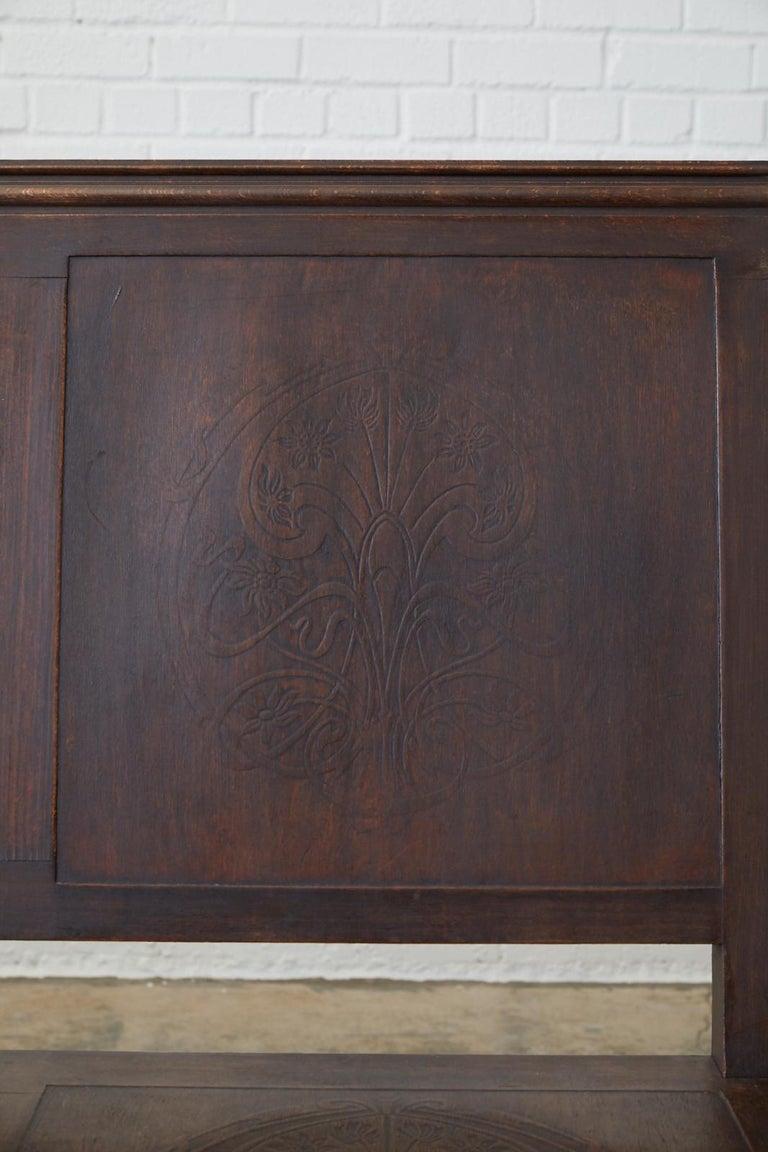 English Oak Bench Settle with Art Nouveau Panels For Sale 2