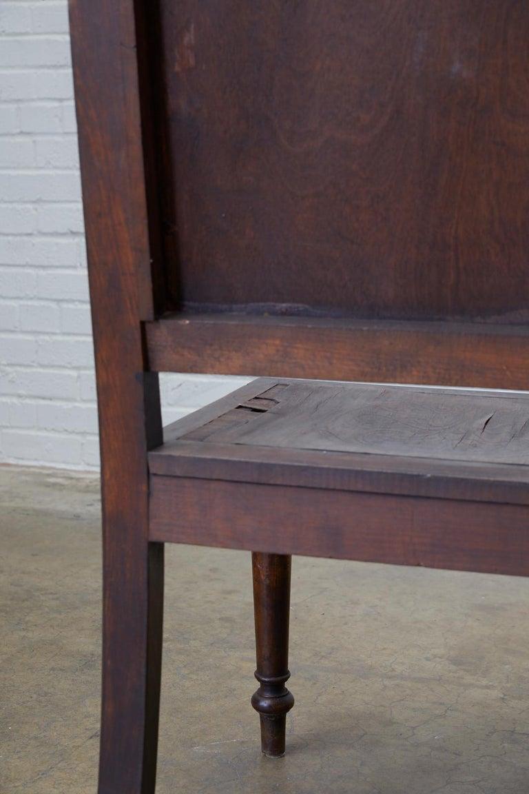 English Oak Bench Settle with Art Nouveau Panels For Sale 3