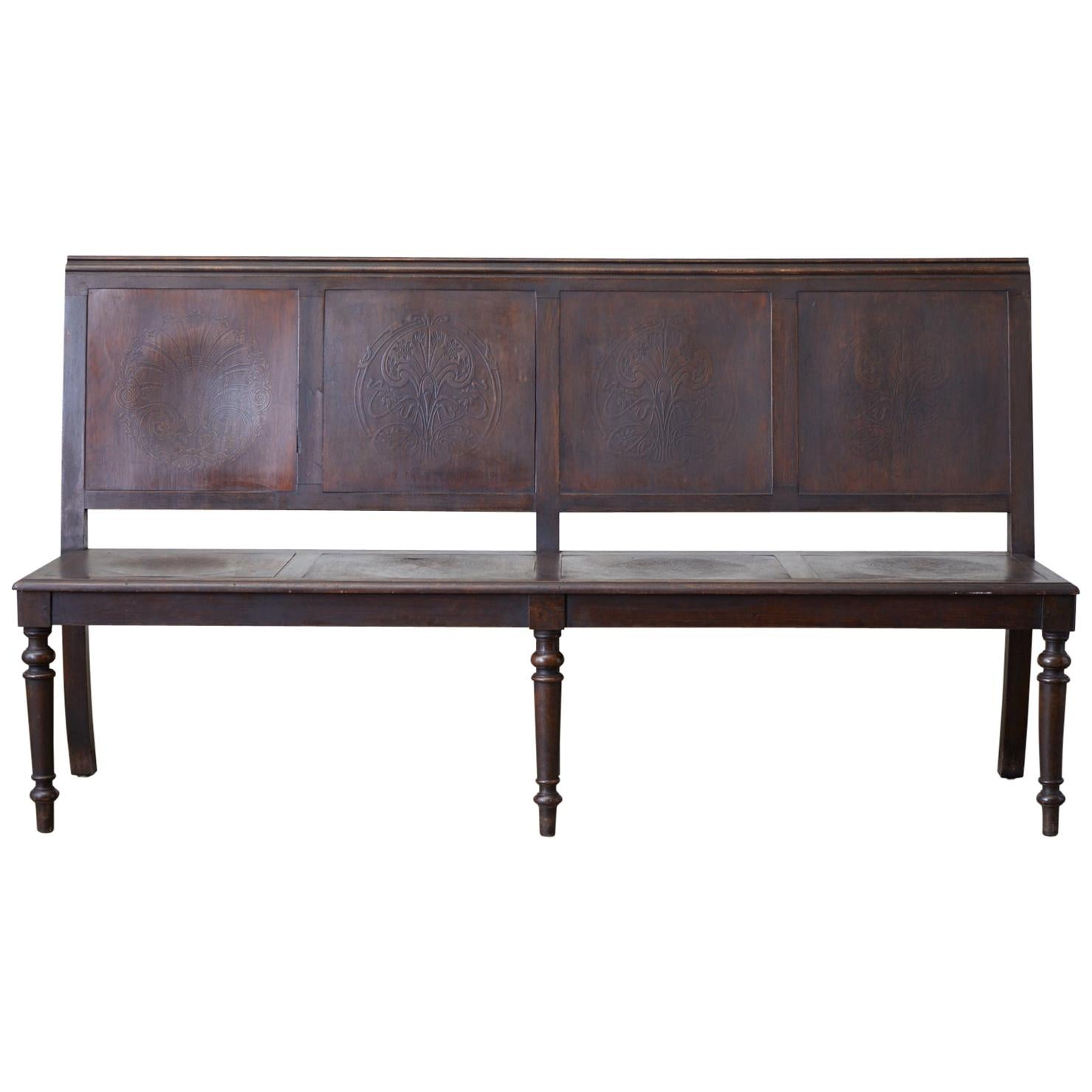English Oak Bench Settle with Art Nouveau Panels