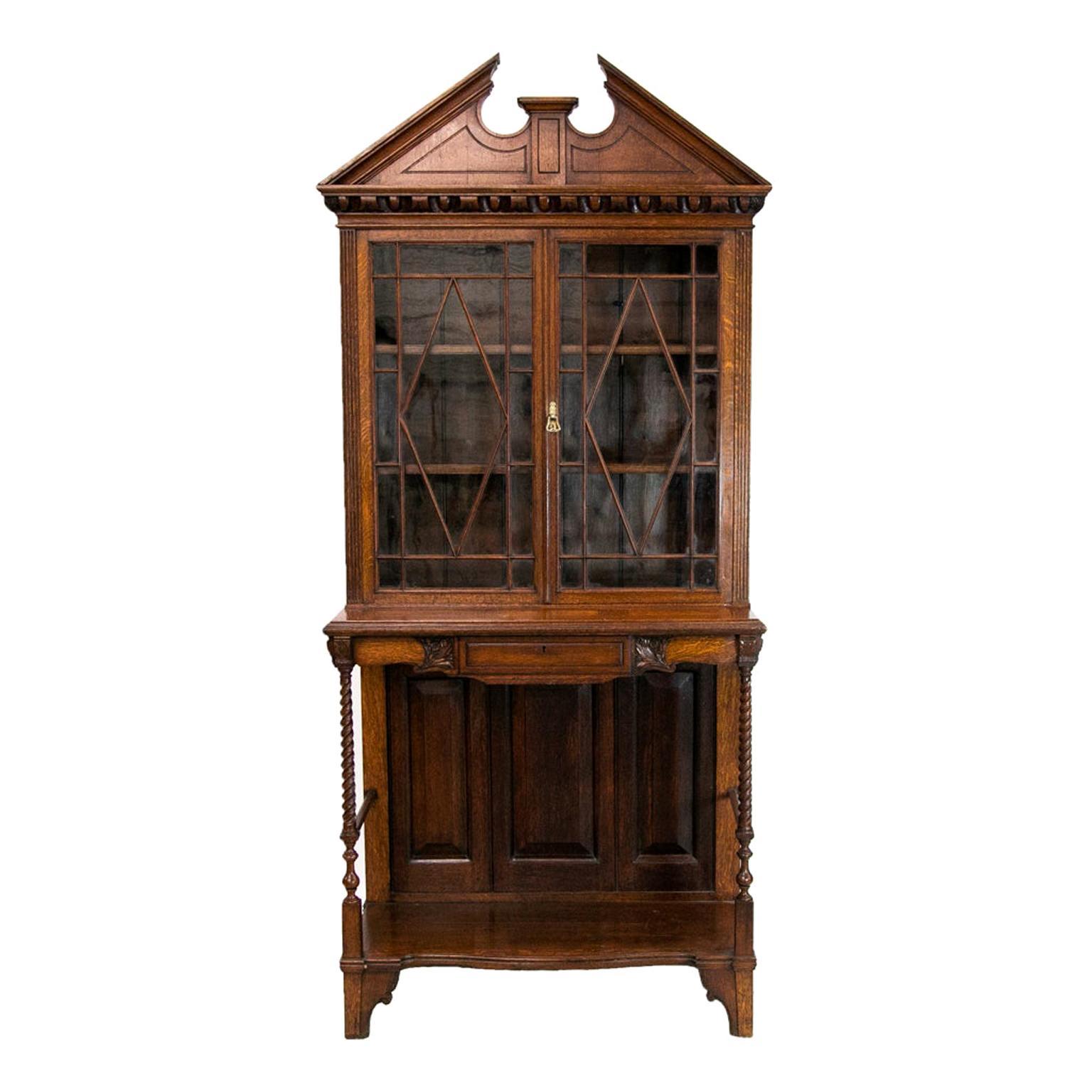 English Oak Bookcase/Display Cabinet