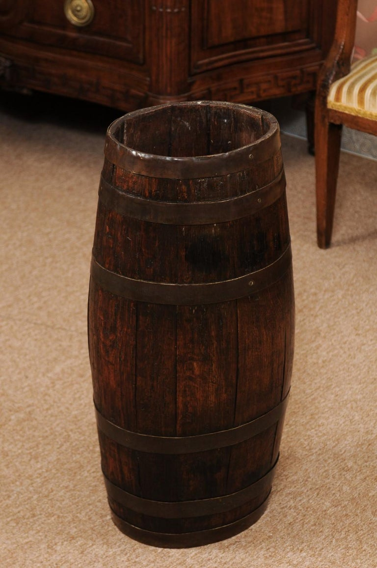 The late 19th century English oak barrell with brass banding.