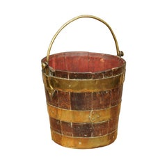 English Oak Bucket with Brass Handle and Horizontal Braces, circa 1880