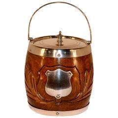 English Oak Carved Biscuit Barrel