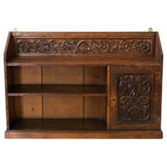 English Oak Carved Hanging Shelf Cabinet