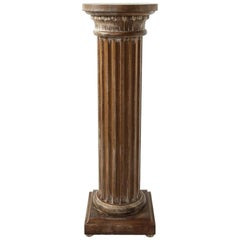 English Oak Carved Pedestal Column, c. 1920
