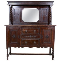 English Oak Carved Sideboard Mirrored Credenza Buffet Arts & Crafts
