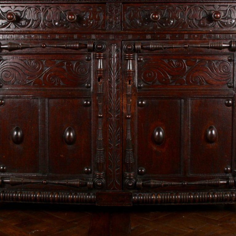 Hand-Carved English Oak Court Cupboard For Sale